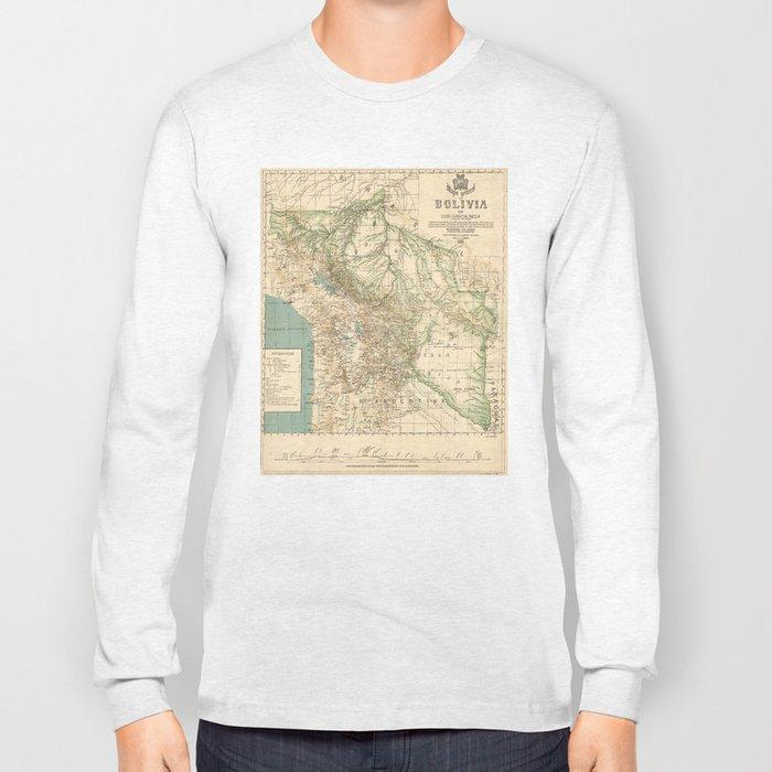 Vintage Map of Bolivia (1905) Long Sleeve T-shirt