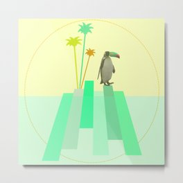 The penguin who wanted to be a tucan on its iceberg Metal Print