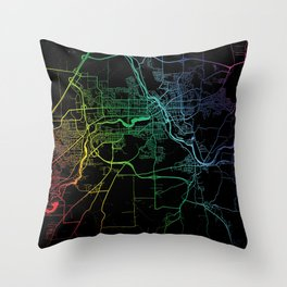 Sherbrooke, QC, Canada, City, Map, Rainbow, Map, Art, Print Throw Pillow