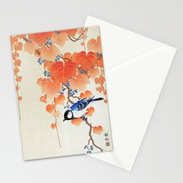 Old Vintage Japanese Illustration Of A Sparrow In A Tree Stationery Cards