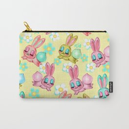 Bunnies and Daisies on Yellow Carry-All Pouch