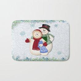 Snowman and Family Glittered Bath Mat