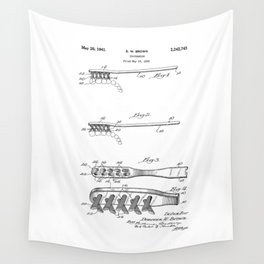 patent art Brown Toothbrush 1939 Wall Tapestry