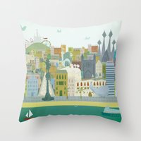 barcelona Throw Pillows featuring Barcelona by LaPendeja