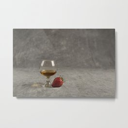 Strawberry and Brandy on a Mottled Grey Background Metal Print