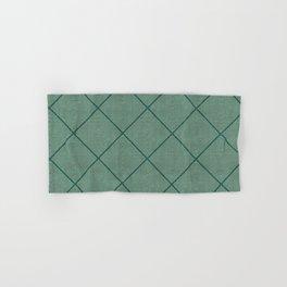 Stitched Diamond Geo Grid in Green Hand & Bath Towel