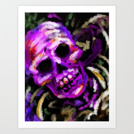 Day of the Dead Neon Party Skull Art Print