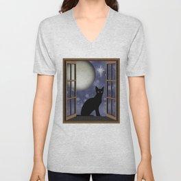 Black Cat in Window With Full Moon Unisex V-Neck