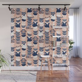 Swedish folk cats V // flesh background Wall Mural