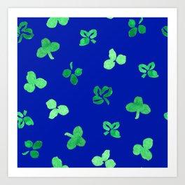 Clover Leaves Pattern on Royal Blue Art Print