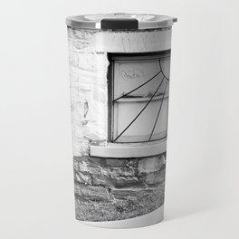 Black and white basement window Travel Mug