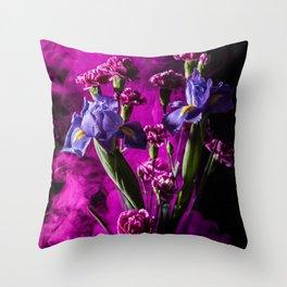Purple Floral Smoke Bouquet  Throw Pillow