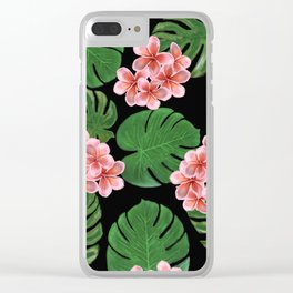 Tropical Floral Print Black Clear iPhone Case