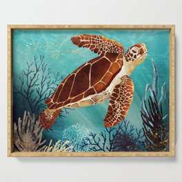Metallic Sea Turtle Serving Tray