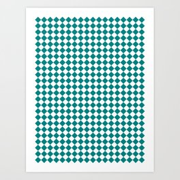 Small Diamonds - White and Dark Cyan Art Print