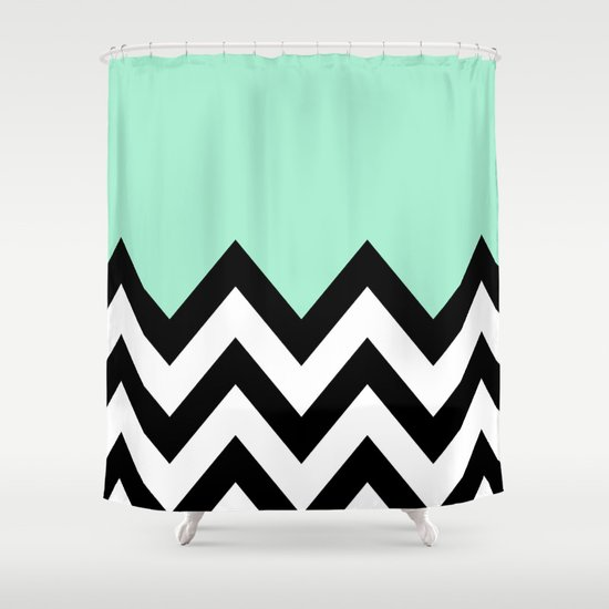 Mint Green Colorblock Chevron Shower Curtain By N A T