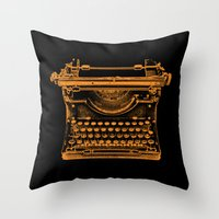 typewriter Throw Pillows featuring Typewriter by Jessica Slater Design & Illustration