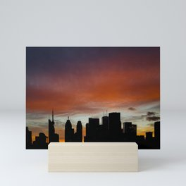 Skyline Silhouette Warm Sunset Red Mini Art Print