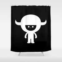 muppet Shower Curtains featuring IDKF horny muppet mascot by simon oxley idokungfoo.com