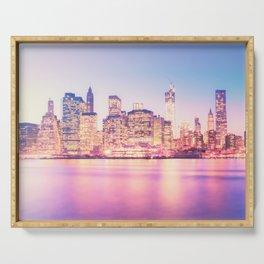 New York City Skyline - Lights Serving Tray