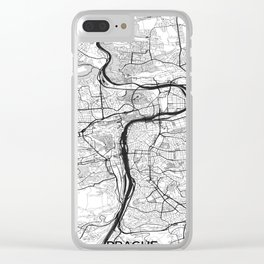 Prague Map Gray Clear iPhone Case