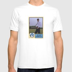 Peter Gibbons Baseball Card SMALL White Mens Fitted Tee