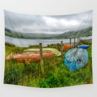 boats Wall Tapestries featuring Cwmystradllyn Boats by Adrian Evans