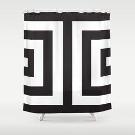Black Greek Stripes Shower Curtain