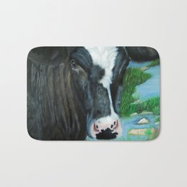 Muddy Fields Cow Painting Bath Mat