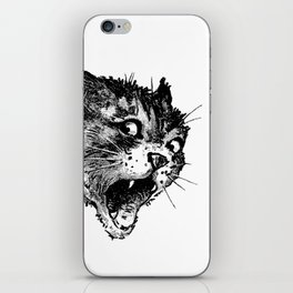 Freaky Cat B&W / Late 19th century illustration of very surprised cat iPhone Skin