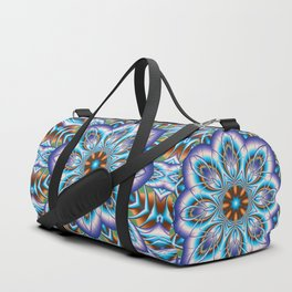 Fantasy flower in purple and blue Duffle Bag