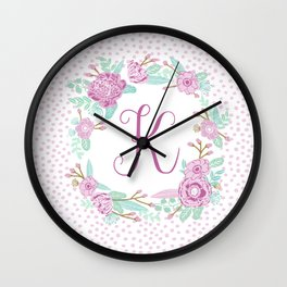 Monogram K - cute girls purple florals flower wreath, lilac florals, baby girl, baby blanket Wall Clock