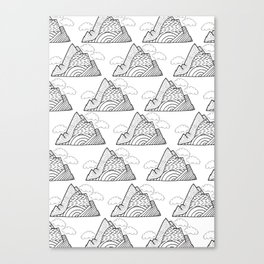 The small clouds and the mountains pattern Canvas Print