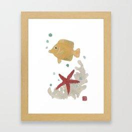 Angelfish, Starfish, Sea Creatures  Framed Art Print