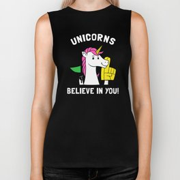 Unicorns Believe In You Biker Tank