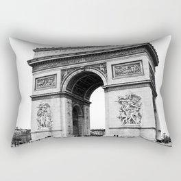 Arc de triomphe, Champs-Élysées, Paris, France black and white photographic cityscape Rectangular Pillow