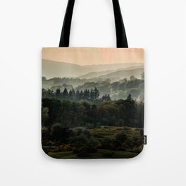 Foggy morning in Lake District Tote Bag