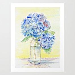 Blue Hydrangea, Still Life Art Print