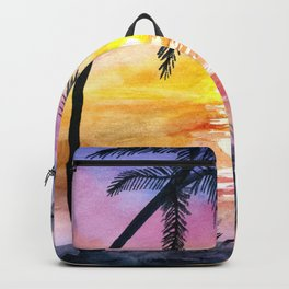 Sunset Silhouette Watercolor Backpack