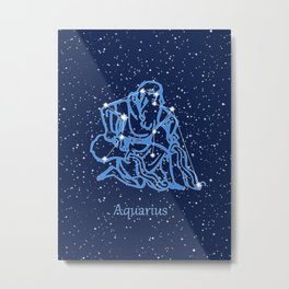 Aquarius Constellation and Zodiac Sign with Stars Metal Print