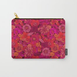 Hellebore lineart florals   red Carry-All Pouch