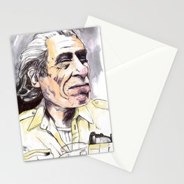 Charles Bukowski portrait in watercolor and ballpoint by McHank Stationery Cards