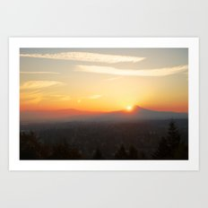 Autumn Sunrise Over Portland Art Print