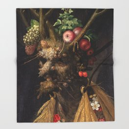 Four Seasons In One Head - Giuseppe Arcimboldo Throw Blanket