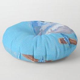 Little Blue Birdie Floor Pillow