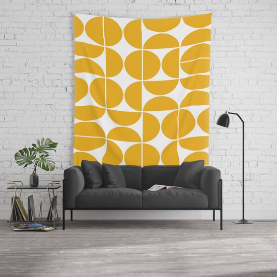 Mid Century Modern Geometric 04 Yellow Wall Tapestry by ...