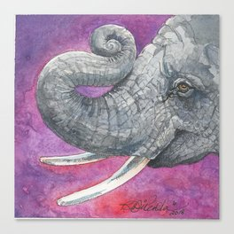 Happy Elephant Watercolor Canvas Print