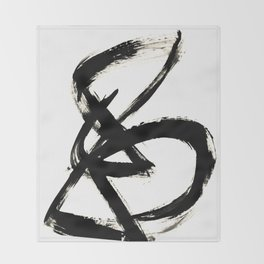 Brushstroke 3 - a simple black and white ink design Throw Blanket