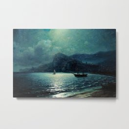 Shipping in a bay by Moonlight - Attributed to Ivan Aivazovsky Metal Print