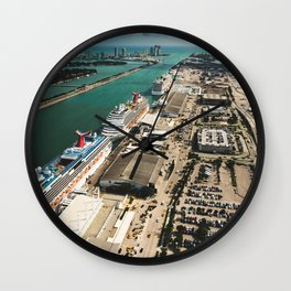 miami harbour from the helicopter Wall Clock